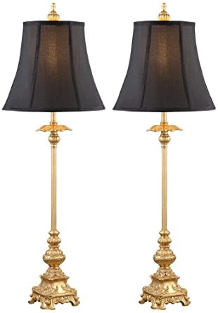 Juliette gold with black shade buffet table lamp set of 2