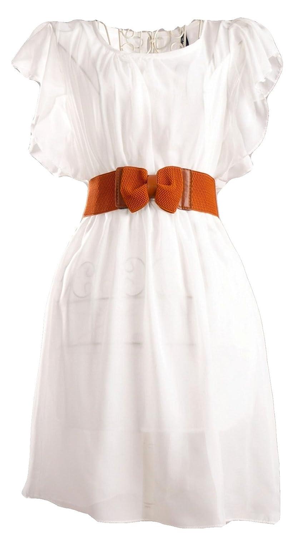 Traumhaft weiches Chiffon Sommer Cocktail Kleid mit Gürtel in khaki ...