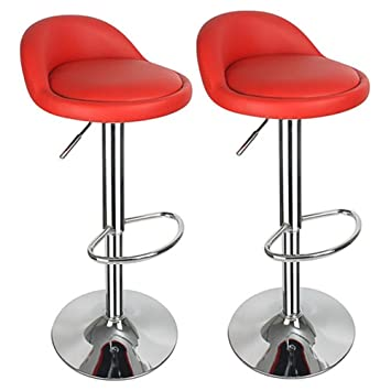 Tabouret De Bar Amazon.Hollylife 2 X Breakfast Bar Stools Faux Leather Bar Stool New Chair Red