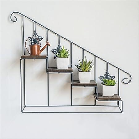 Rack de flores de escalera de 4 niveles Hierro de metal Rack de flores montado en