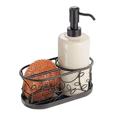 mDesign Decorative Ceramic Kitchen Sink Countertop Liquid Hand Soap Dispenser Pump Caddy with Storage Compartment - Holds Sponges, Scrubbers, Brushes - Vanilla/Cream with Bronze Metal Wire Design
