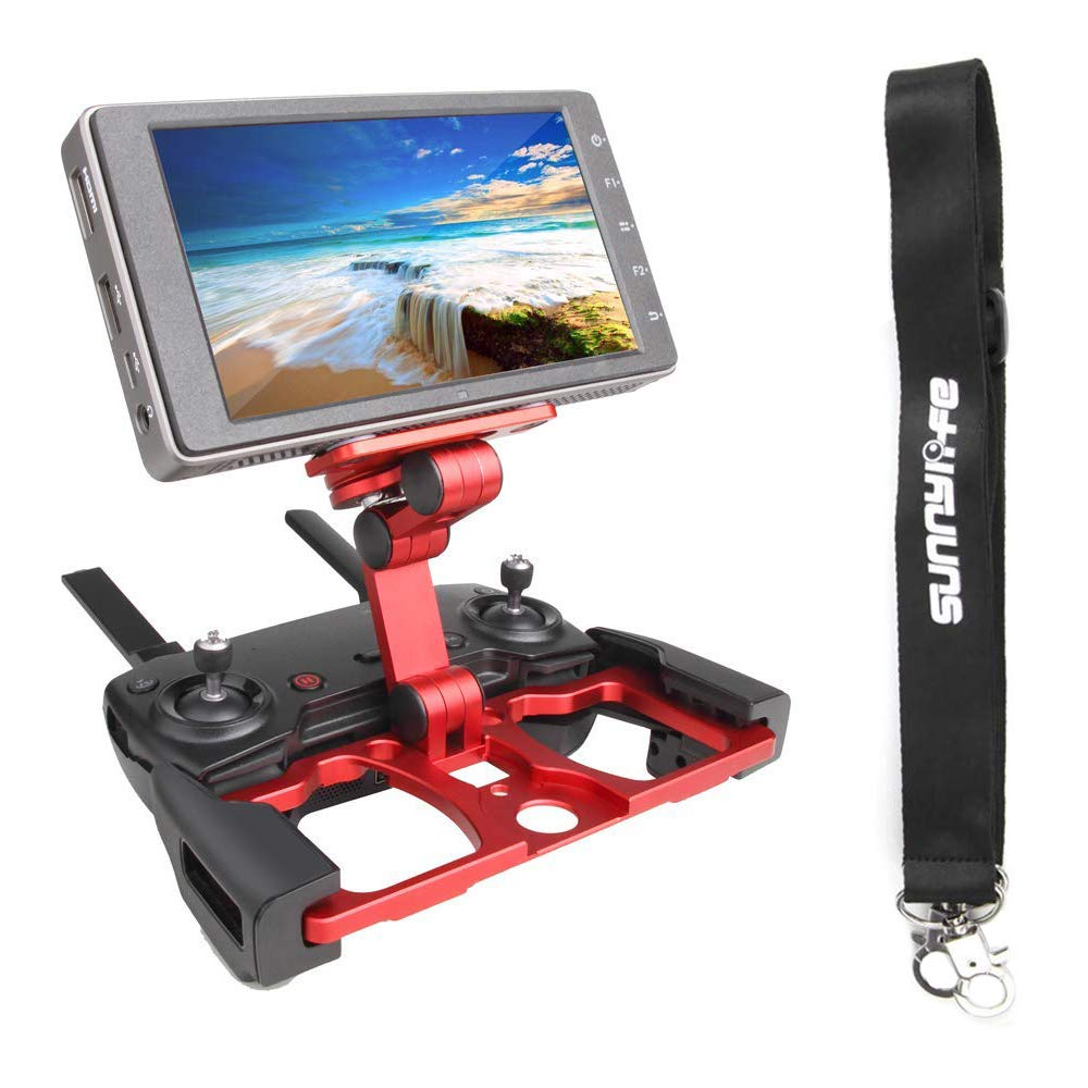Anbee Foldable Aluminum Tablet Stand Cell Phone Holder with Lanyard Support Crystal Sky Monitor Compatible with DJI Mavic 2 / Mavic Pro Platinum/Mavic Air/Spark Drone Remote Controller, Red by Anbee