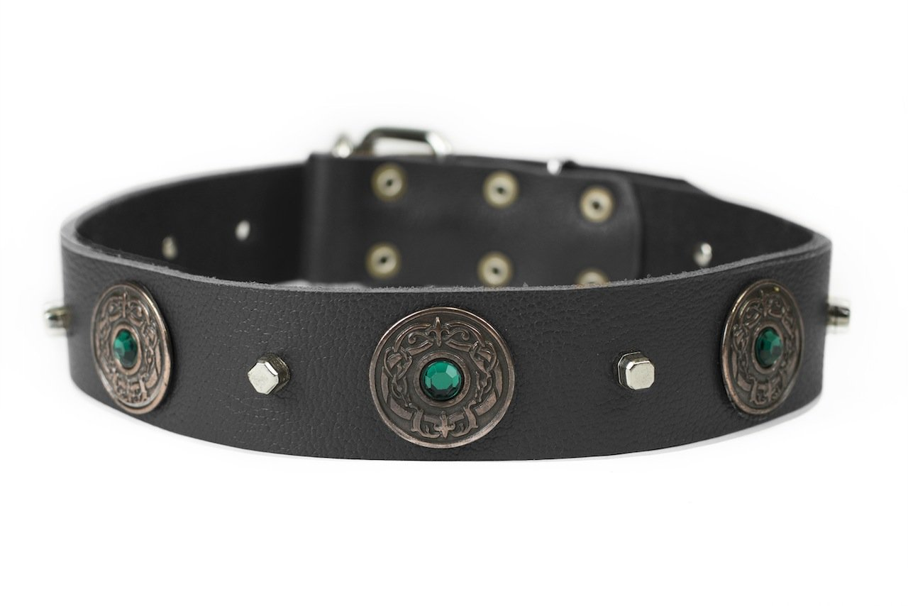 Dean and Tyler  DRAGON EYE  Dog Collar With Nickel Buckle  Black  Size 86cm By 4cm Width. Fits neck size 32 Inches to 36 Inches.
