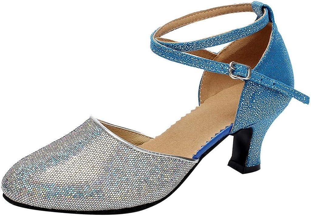 TIFENNY Womens Sequin Ballroom Tango Latin Salsa Cross Strap Dancing Shoes Social Dance Shoe 2019 New