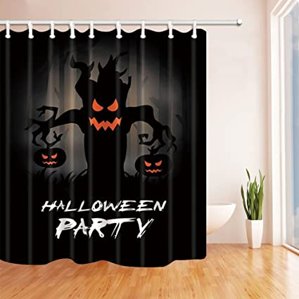 nymb halloween shower curtains for bathroom horror tree monster spends two pumpkins polyester fabric