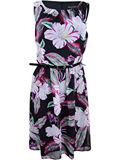 adce33fd Connected Women's Belted Floral-Print Dress (12, Fuschia) at Amazon ...