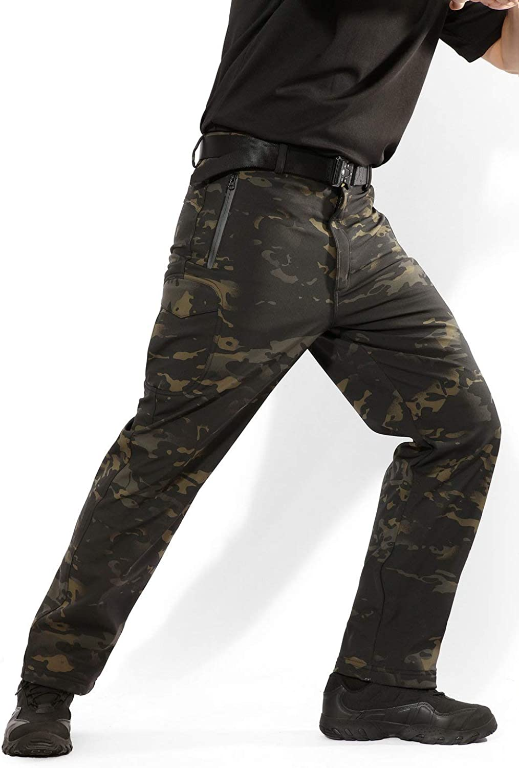 ANTARCTICA Mens Winter Fleece Lined Softshell Tactical Pants for Ski Snowboard with Multi Pockets