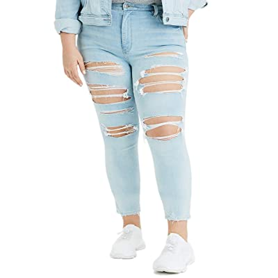 American Eagle Womens 1907973 360 Ne(x) t Level Super High-Waisted Jegging Crop, Indigo Skylight Destroy (8Regular) at Women's Jeans store