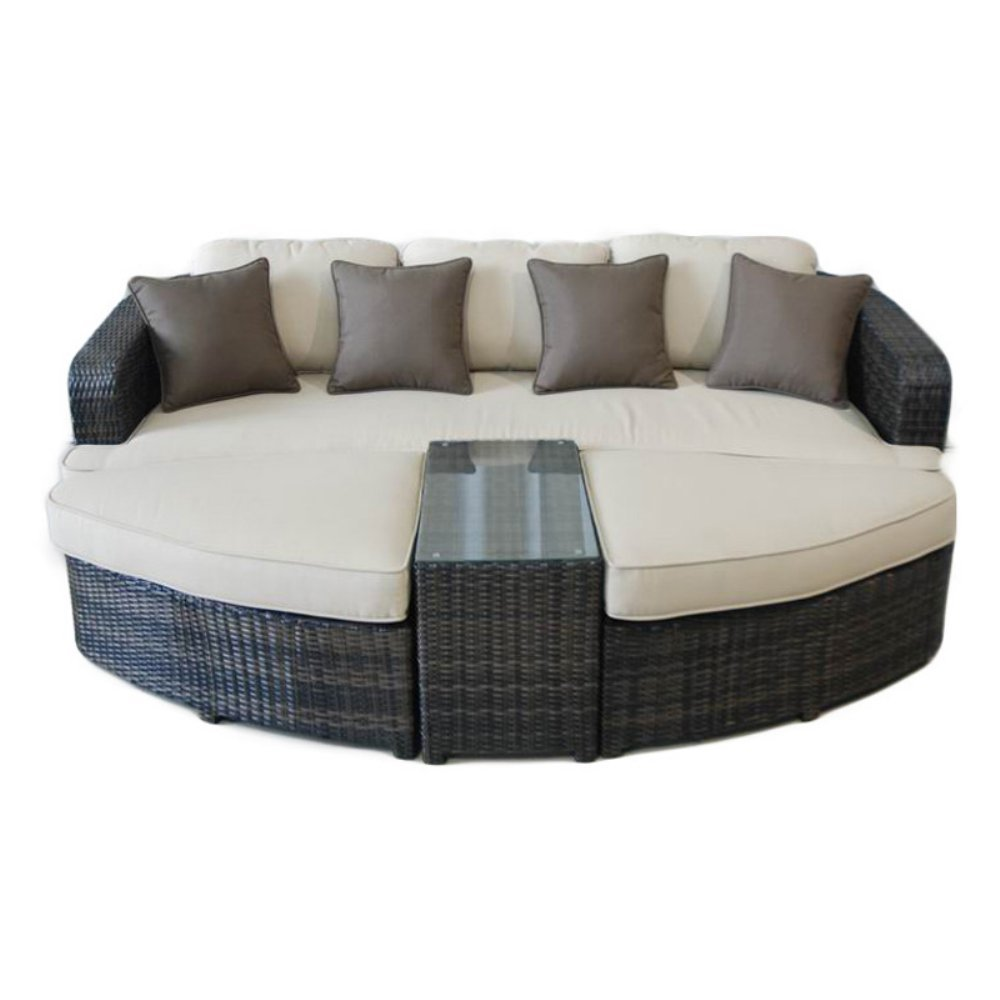 Amazon.com : All Weather Wicker 4 Piece Lounge Seating Group ...