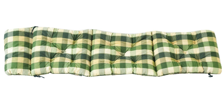 Ambientehome Cuscino per sedia a sdraio, a quadretti verde, ca. 195x 49x 8cm 90646