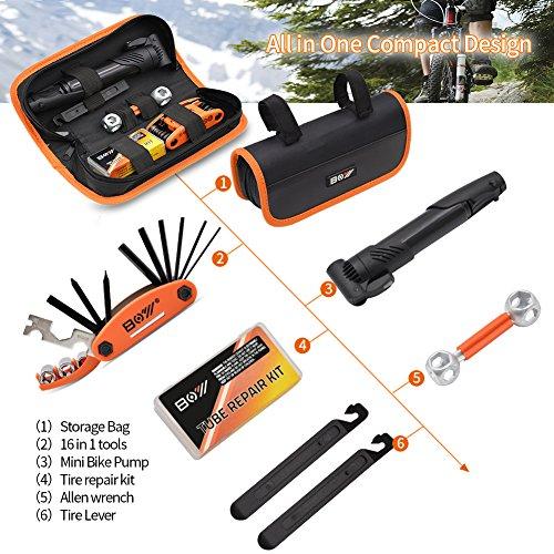 AQQEF Bike Repair Kit, Bicycle Repair Kits Bag With Portable Bike Pump  16-In-1 Bike Multi Tool Kit Sets by AQQEF (Image #3)