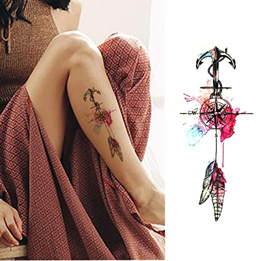Handaxian 3pcs Pegatinas Brazo Tatuaje señora de la Flor de la ...