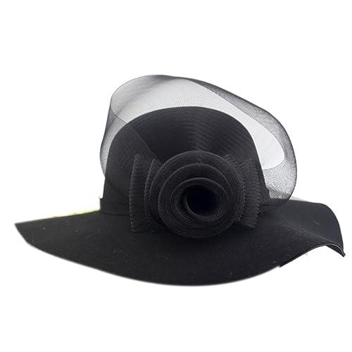 Retro Señora Cúpula Aleros Anchos Otoño E Invierno Todo-fósforo Sombrero De Lana Mano Flor Sombrero Grande Sombrero
