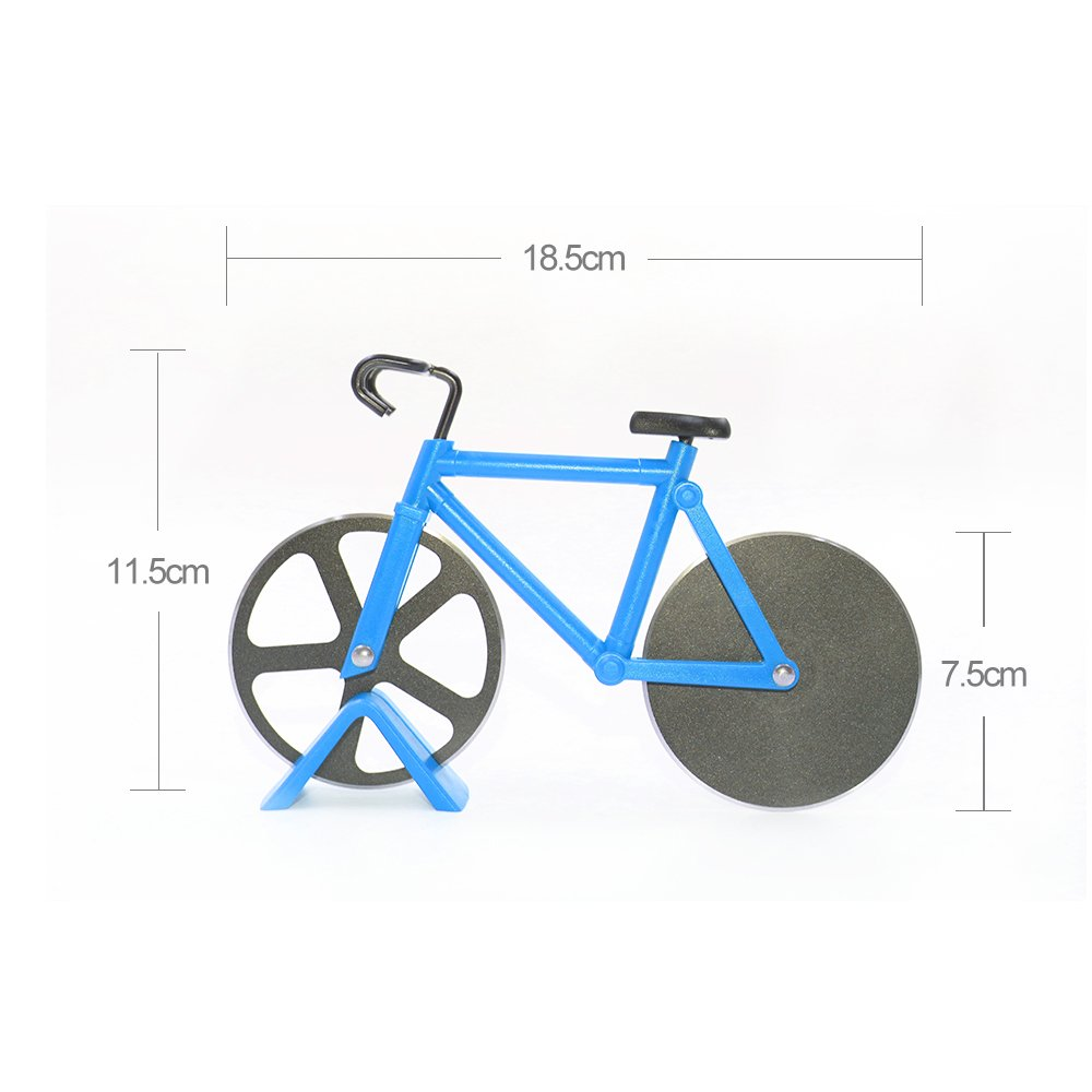 Bicycle Pizza Cutter,Langxian Pizza Slicer Dual Stainless Steel Non-Stick Cutting Wheels with a Stand Blue