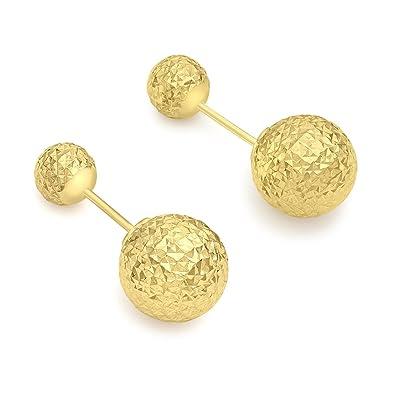 82ec59706 Carissima Gold Women's 9 ct Yellow Gold Diamond Cut 6 mm and 10 mm  Reversible Ball