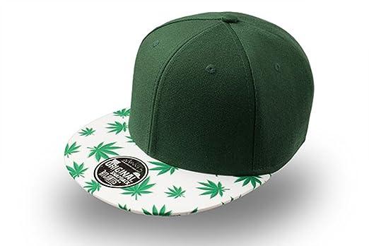 Gorra visera plana con dibujo de hojas de marihuana Seis paneles