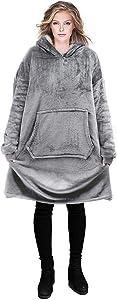 Reepow Hoodie Blanket Sweatshirt Featured on Shark Tank Oversized Wearable Blanket Warm Soft Comfortable Sherpa Hoodie for Women Men, One Size Fits All,Grey