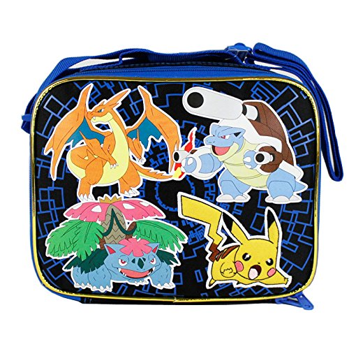 New Arrive 2015 Pokemon Pikachu Black & Blue School Lunch Bag
