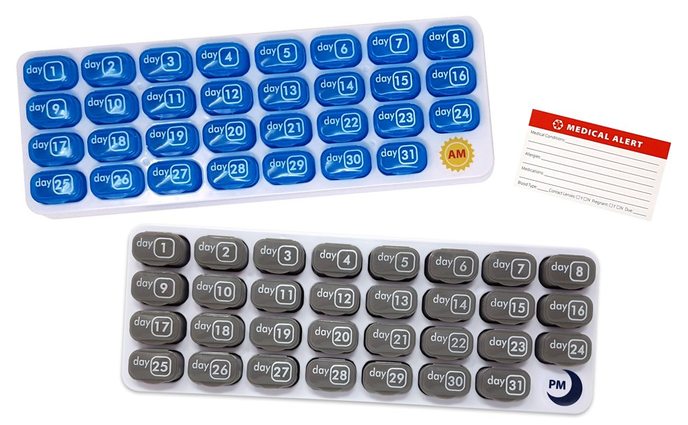 AM/PM 31 Day Monthly Pill Organizer Holder with Large Removable Medication Pods and Bonus Medical Alert Card - Blue for Morning and Grey for Evening - Daily Pill Pods are Portable and Great for Travel by Pill Thing (Image #1)