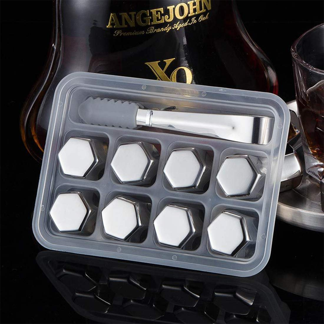 SONGYANG Ice Cube Reusable Stainless Steel Ice Cubes Set of 8 Drinks Stones with Tongs for Cooking Whiskey, Vodka, Wine, Beer, Beverage,All Drinks(Hexagonal),8pcs by SONGYANG