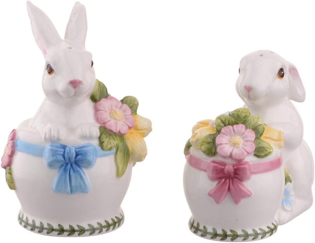 """Portmeirion Botanic Garden Terrace Bunny Salt & Pepper Shakers - Salt 4.5"""" x 2.5"""", Pepper 3.75"""" x 3.75"""""""