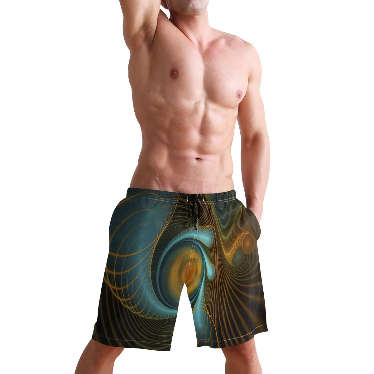 COVASA Mens Summer ShortsFractal Spiral Vortex