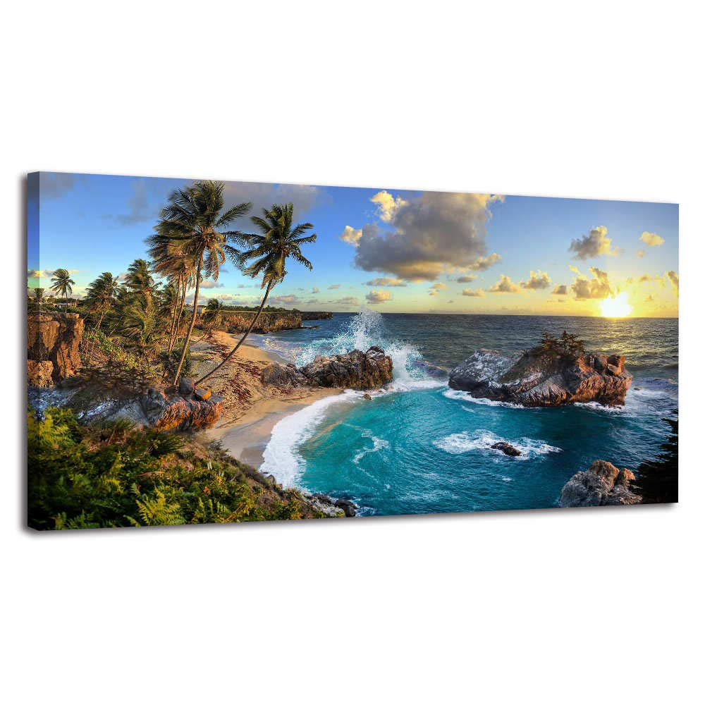 CDM product Seascape Canvas Wall Art Nature Picture Scenery Canvas Prints Framed Artwork Painting Contemporary Wall Art for Home Bedroom Living Room Decoration Kitchen Office Wall Decor (Blue, 20x40inx1) big image
