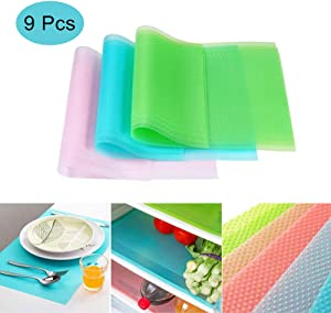 Fridge Liner Mats, 9 Pack Refrigerator Liners Mats with Washable Waterproof Can Be Cut Cabinet Drawer Shelf Liner for Shelves 3Red/3Green/3Blue
