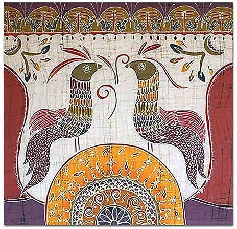 NOVICA Cotton Batik Wall Mural, Multicolor, Song for The New Day