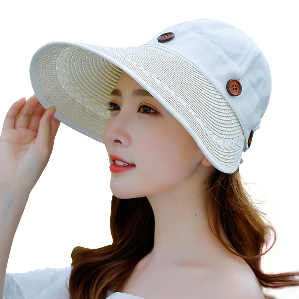 EachWell Women s Reversible 2-in-1 Wide Brim Floppy Hat UV Protection Hats  for Beach Golf Milk White at Amazon Women s Clothing store  a7b481cddad