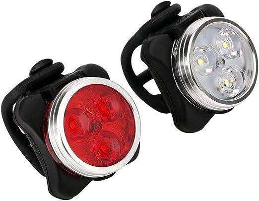 Shuxinmd Bicicleta Faro Luz Trasera Combinación Recargable USB LED ...