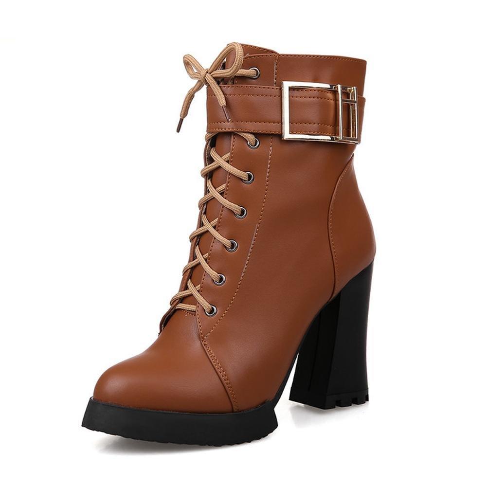 L@YC Damenschuhe Stiefel Kunstleder Chunky Heel Combat Stiefel Round Toe Heels Stiefel im Freien braun