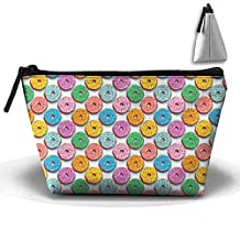Pop Art Hipster Sprinkle Bright Donut Zipper Closure Pouch Travel Multi-functional Cosmetic Bags