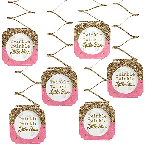Big Dot of Happiness Pink Twinkle Twinkle Little Star - Baby Shower or Birthday Party Hanging Decorations - 6 Count
