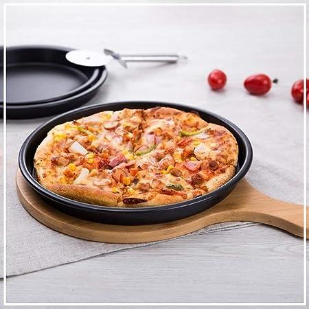 GWLGWL Molde para Pizza Liso Moldes para Pizza Rejilla Porta Molde. Material: Acero con Revestimiento Antiadherente, Color Negro.: Amazon.es: Hogar