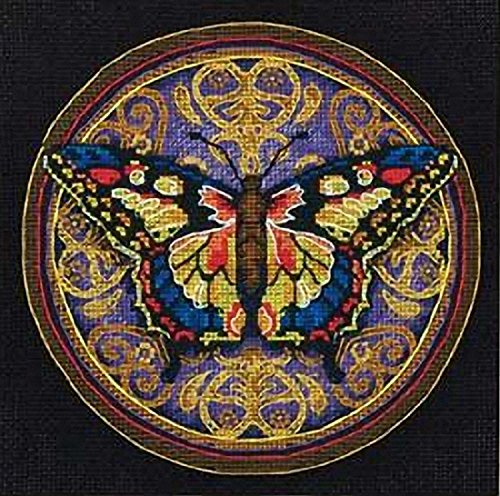 Dimensions Gold Collection Ornate Butterfly Advanced Counted Cross Stitch Kit, 18 Count Black Aida, 6