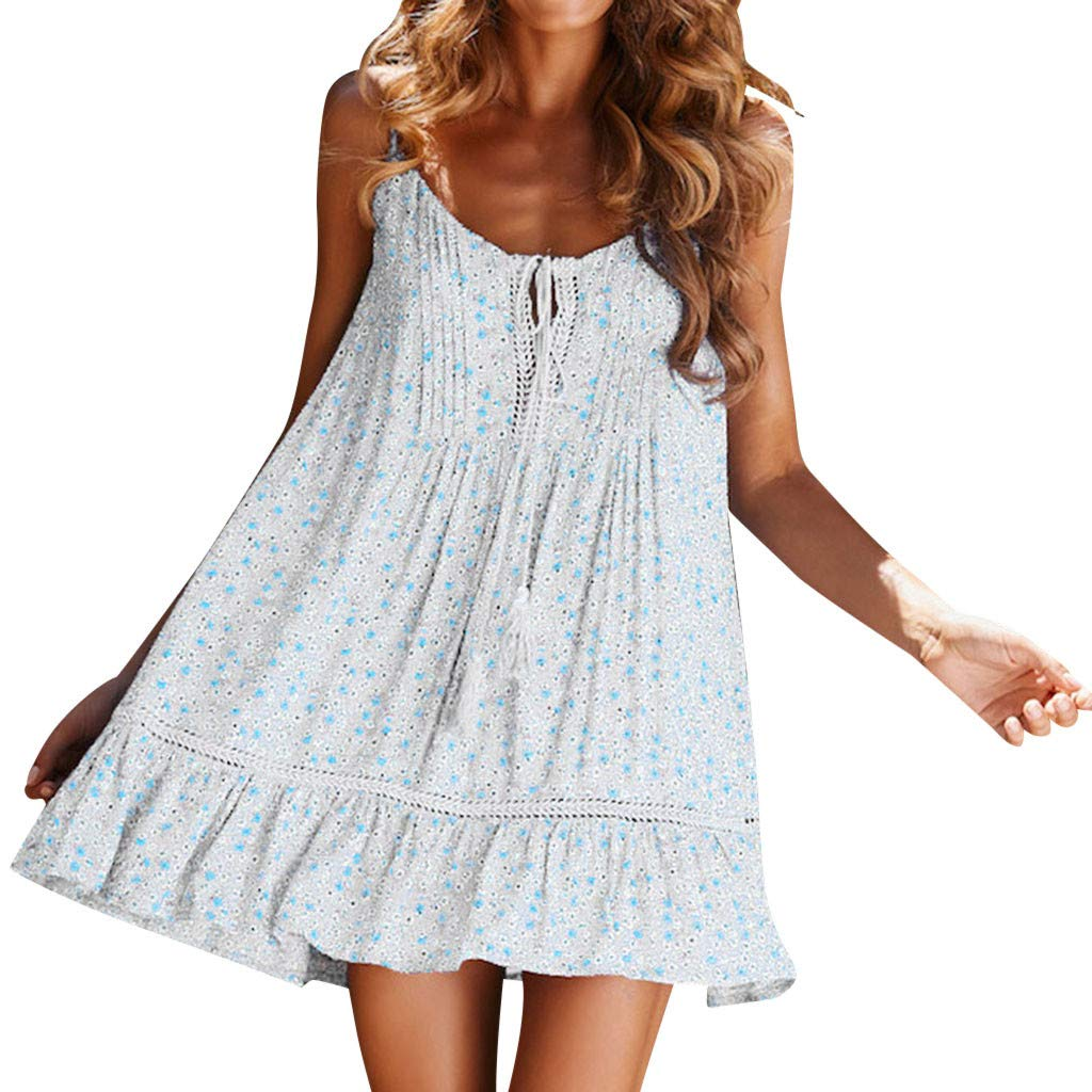 Women Spaghetti Floral Adjustable Strap Swing Beach Short Dress Bohemian Vintage Printed Ethnic Style Top Dresses
