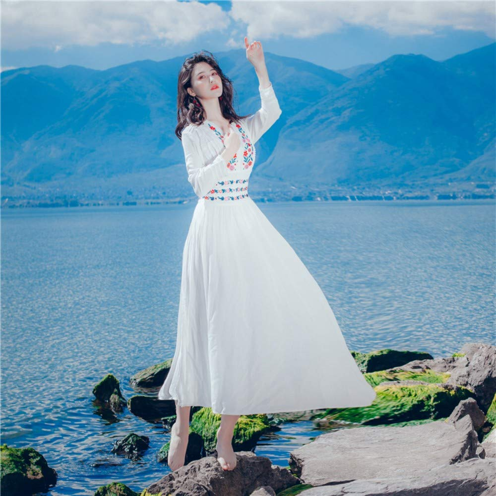 L Cxlyq Dress Retro Ethnic Style Beach Skirt Long-Sleeved Slim Temperament Slim Embroidery Seaside Resort Yunnan Tourism Dress
