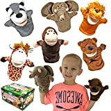 Joyin Toy Animal Friends Deluxe Kids Hand Puppets with Working Mouth (Pack of 6) for Imaginative Play