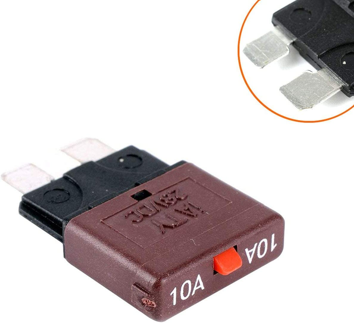 BIYI 10A Fuse 12v//24v Fits Circuit Breaker Blade Automotive Car Kit Resettable Inline Fuse Holder Protection Stereo Manual Reset Dark Brown