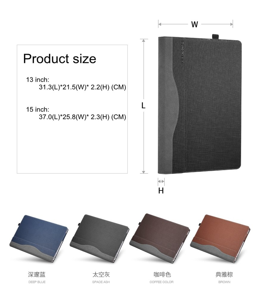 for Hp Envy x360 15 Case Cover, PU Leather Folio Stand Protective Cover for 15.6'' HP Envy x360 15-bp000 /Envy x360 15-bp100TX Series Laptop (BP000/BP100 TX, Grey)