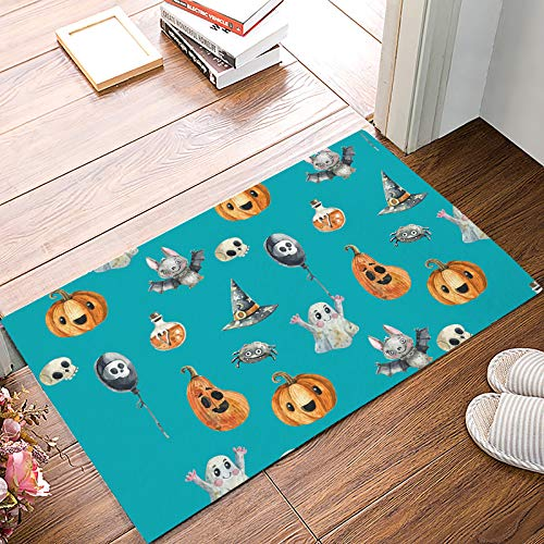 (Fantasy Star Indoor Door Mats for Front Door Entrance Way Halloween Ghost Punpkin and Bats Doormat Shoes Scraper Dirt Debris Mud Trapper Patio Rugs Low Profile Washable Carpet 16