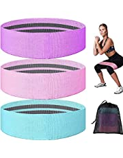Lsnisni Resistance Bands for Leg and Butt- 3 Pack Non Slip Fabric Resistance Bands for Working Out, Yoga Booty Loops Bands with Carry Bag for Glute, Thigh, Squat, Pilates at Home or Gym