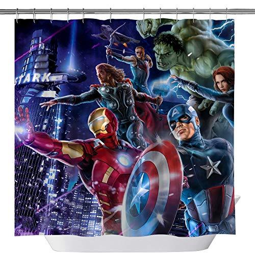 Marvel Hero Shower Curtains, Iron Man Captain America Hulk Raytheon Custom Made Machine Washable Waterproof Polyester Fabric Shower Curtain, 3D Bathroom Curtain Set with Hooks, 71X 71 in -