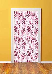 Maroon 3D Door Sticker Wall Decals Mural Wallpaper,Artful Spring Garden Pattern with English Rose Blooms Romantic Abstract Decorative,DIY Art Home Decor Poster Decoration 30.3x78.13183,Maroon Light Pi