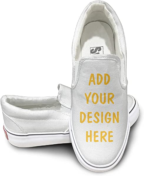 3f154fc4b74d Unisex Customized Canvas Flat Slip-On Casual Sneaker Design Your Own  Personalized (White -