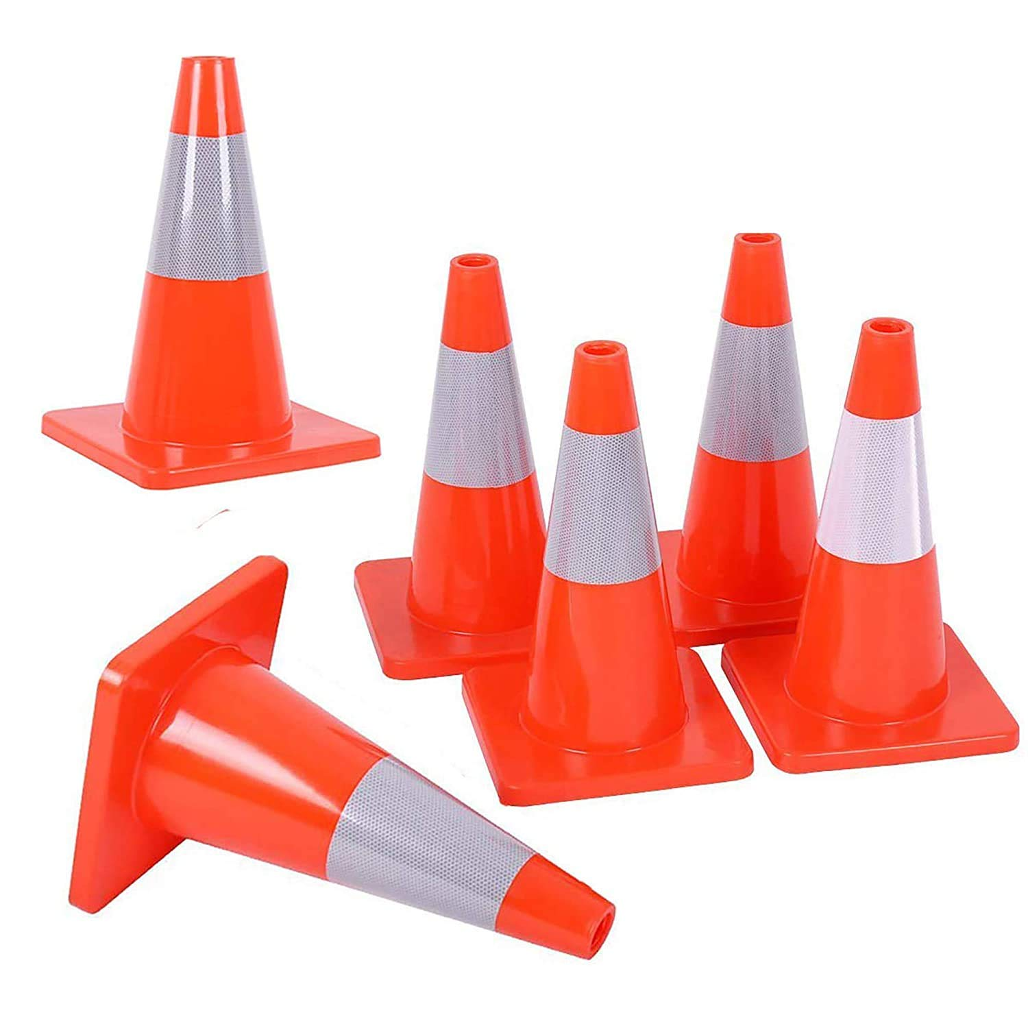 """Caution Emergency Vehicle 18/"""" Lime Green Traffic Cone Road Crews 6 Reflective Collar Xpose Safety Multipurpose Premium PVC Safety Cone for Parking Construction"""
