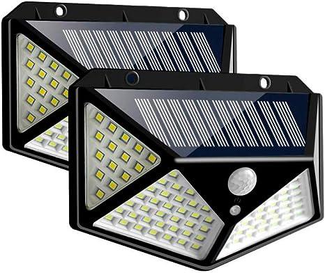 Paquete 2 Lamparas Solar 100 Leds Para Exteriores Con Sensor De Movimiento Y 3 Modos De Luz Mx Hogar Y Cocina