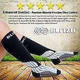 Blitzu Compression Socks 15-20mmHg for Men & Women BEST Recovery Performance Stockings for Running, Medical, Athletic, Edema, Diabetic, Varicose Veins, Travel, Pregnancy, Relief Shin Splints, Nursing