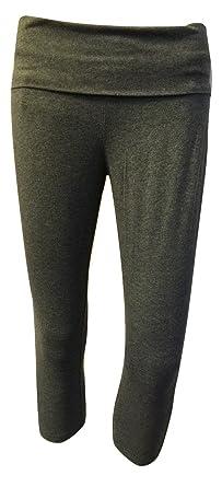 aada9a19320a3 Mossimo Supply Co Women's Yoga Capri Flat Waistband Pants Junior (Grey)  (LARGE)